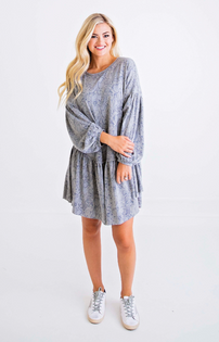 Snake Knit Ruffle Dress, Grey