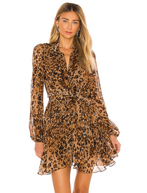 Trina Mini Dress, Caramel Leopard