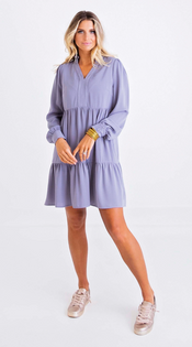 Solid Ruffle Tier Dress, Blue