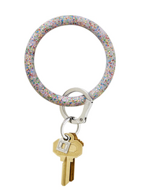 Big O Silicone Key Ring - Rainbow Confetti