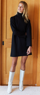Edie Turtleneck Dress, Black