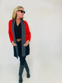 Travel Coat - Fire Red Simone Colorblock