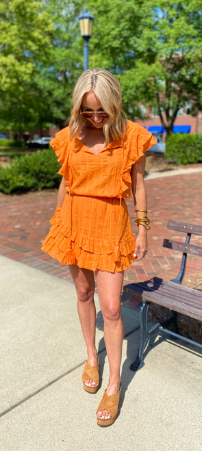Raffa Orange Metallic Mini Dress