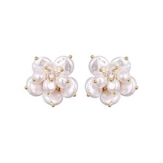 Pearly White Floral Stud