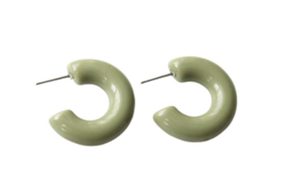 Acrylic Bubble Mini Hoop - Olive