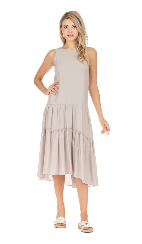 Taupe Tiered Maxi