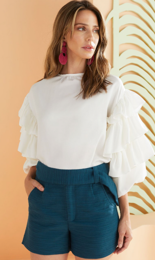 Ferne Ruffle Blouse, White