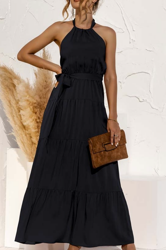 Halter Solid Dress, Black