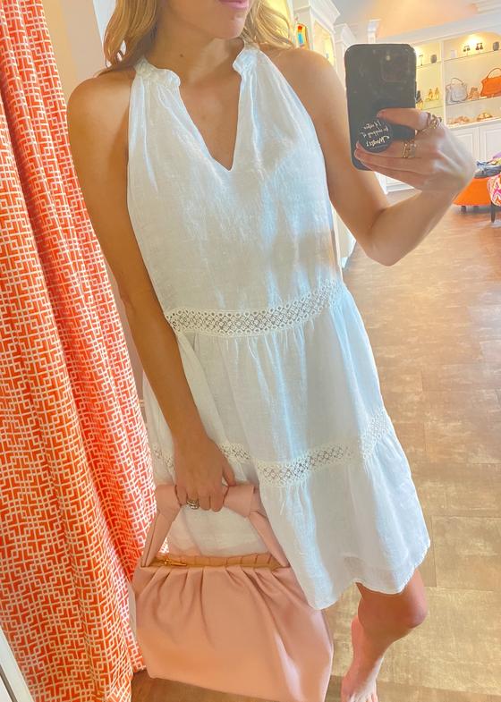 Lace Inset Dress, White