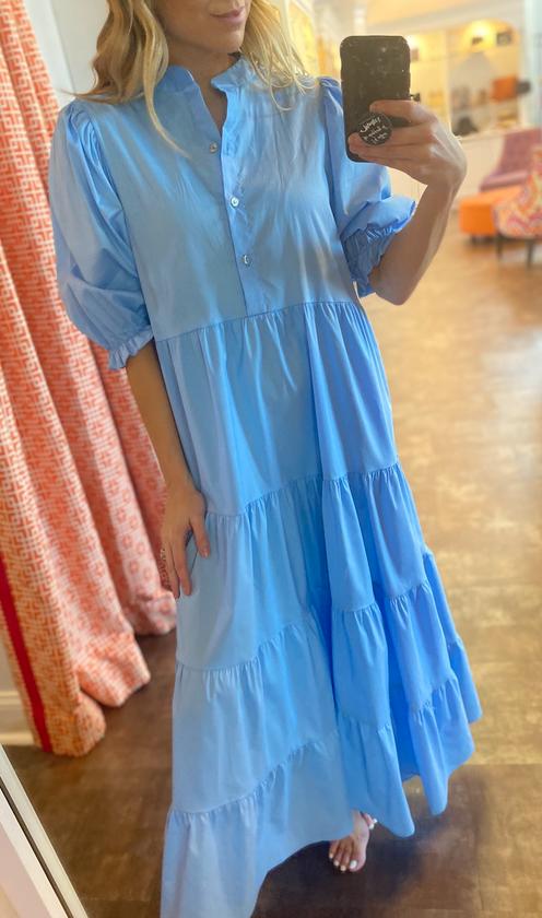 Blue Poplin Puff Slv Dress