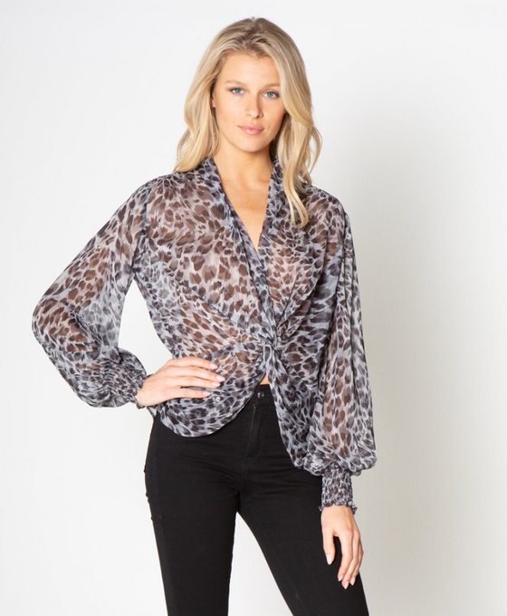 Knot Front Top, Grey/Black