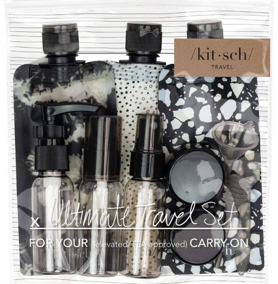 Refillable Ultimate Travel 11pc Blk/White