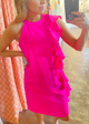 Side Ruffles Dress, Pink