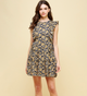 Navy Floral Tiered Dress