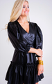 Faux Leather Ruffle Wrap Dress, Black
