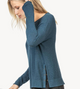 Side Snap Pullover Sweater, Sapphire