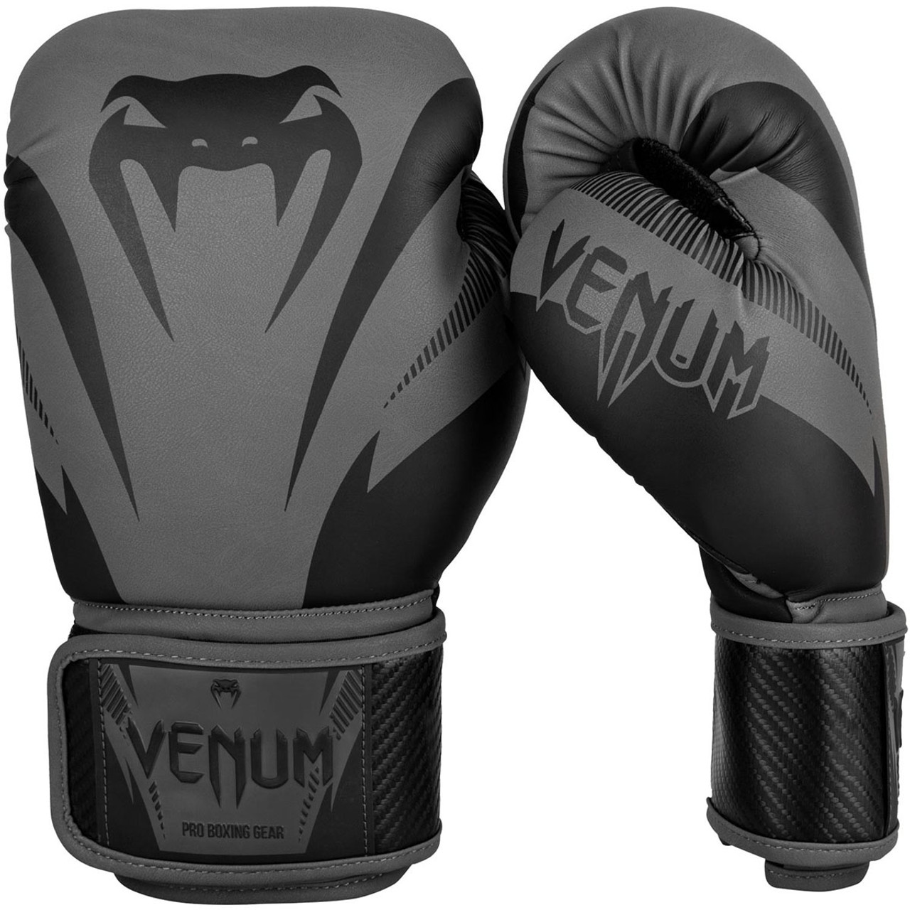 Gray//Black Venum Impact Hook and Loop Training Boxing Gloves