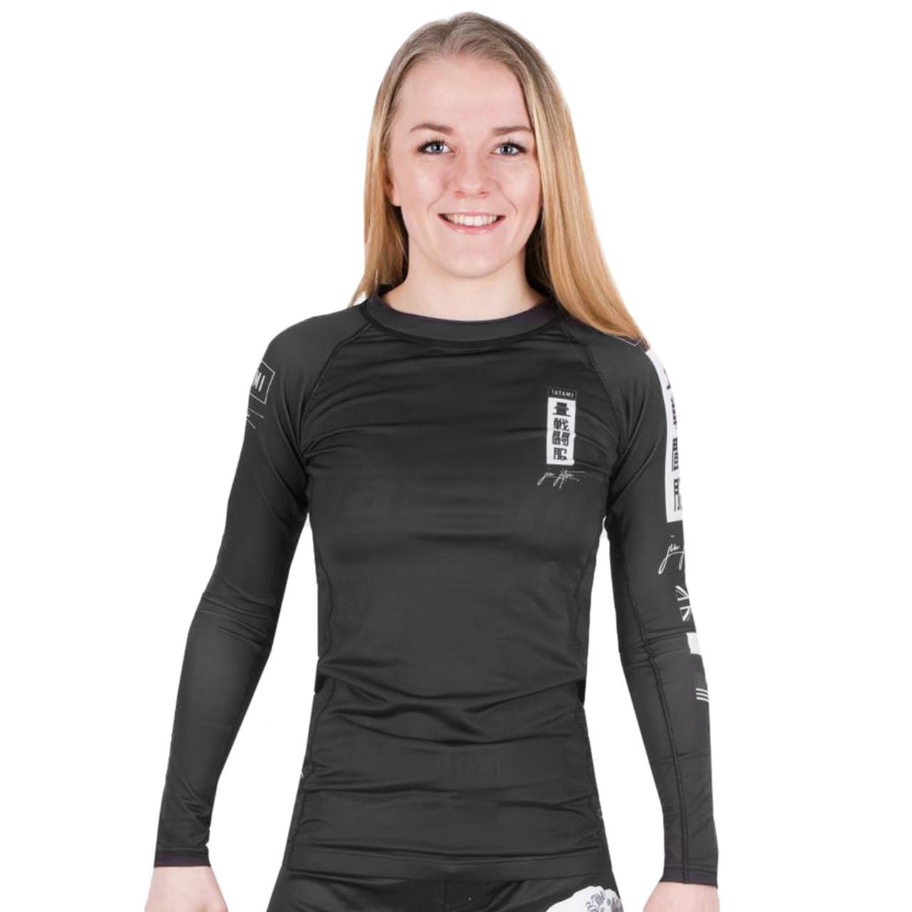 Long Sleeve Tatami Kanagawa Rashguard Black Fitness Grappling and MMA Compression Shirt with 4-Way Stretch for Jiu Jitsu Mens Rash Guard