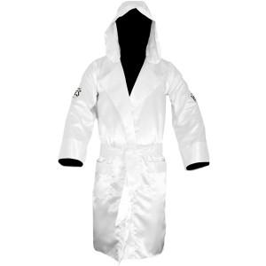 Cleto Reyes Satin Boxing Robe with Hood - White