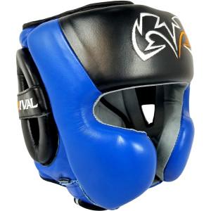Rival Boxing RHG30 Mexican Style Cheek Protector Training Headgear - Black/Blue