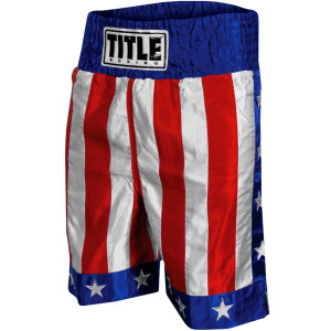 "Title Boxing American Flag 4"" Waistband Satin Boxing Trunks - USA"