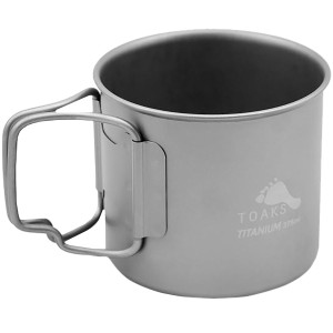TOAKS 375ml Titanium Camping Cup with Foldable Handles