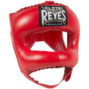 Cleto Reyes Leather Boxing Headgear with Nylon Face Bar - Red