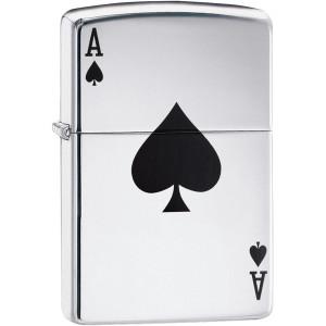 Zippo Lucky Ace High Polished Chrome Pocket Lighter