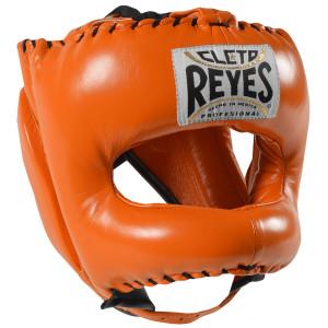 Cleto Reyes Traditional Leather Boxing Headgear w/ Nylon Face Bar - Tiger Orange