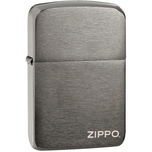 Zippo 1941 Replica Pocket Lighter with Logo - Black Ice
