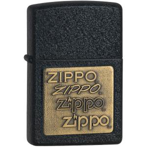 Zippo Brass Embossed Logo Black Crackle Pocket Lighter