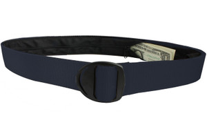 Bison Designs Crescent Black Buckle Money Belt - Navy