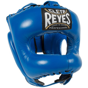 Cleto Reyes Traditional Leather Headgear with Nylon Face Bar - Blue