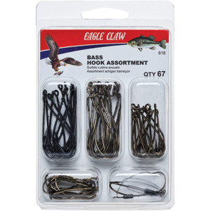 Eagle Claw Bass Assorted Hooks Fishing Kit