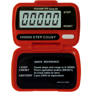 Ultrak 240 - Electronic Step Counter Pedometer - Red