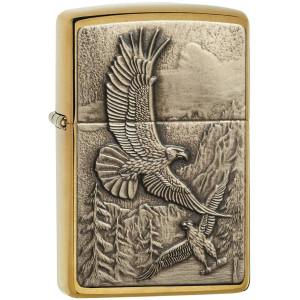 Zippo Brushed Brass Where the Eagle Dare Emblem Pocket Lighter