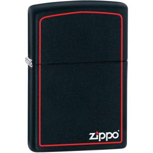 Zippo Black Matte Lighter with Border
