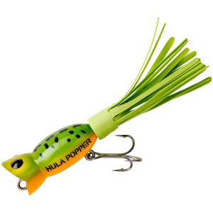 Arbogast Hula Popper 3/8 oz Fishing Lure - Frog/Yellow Belly