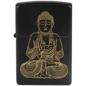 "Zippo ""The Enlightened One"" Buddha Black Matte Windproof Pocket Lighter"