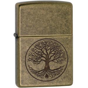 Zippo Tree of Lifee Antique Brass Windproof Pocket Lighter