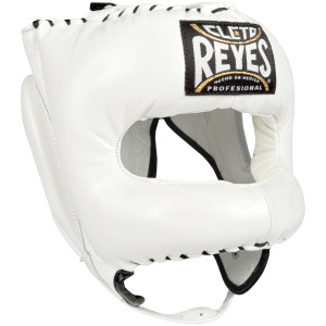Cleto Reyes Traditional Leather Headgear with Nylon Face Bar - White
