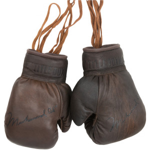 Title Boxing Collector's Muhammed Ali Autograph Leather Boxing Gloves - Brown