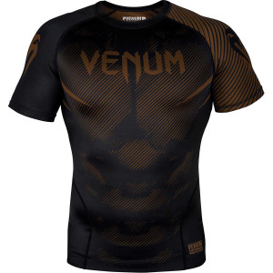 Venum No-Gi 2.0 Short Sleeve MMA Compression Rashguard - Black/Brown