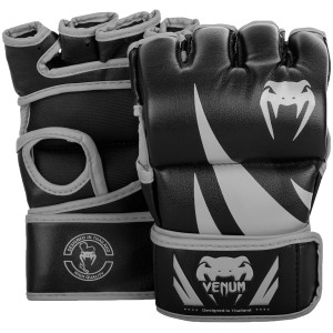 Venum Challenger Hook and Loop MMA Gloves without Thumbs-Black/Gray