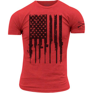 Grunt Style R.E.D. Rifle Flag Crewneck T-Shirt - Red