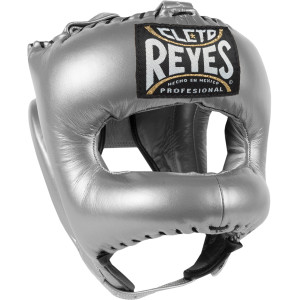 Cleto Reyes Traditional Leather Boxing Headgear with Nylon Face Bar - Silver