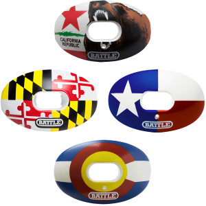 Battle Sports Science State Flag Oxygen Lip Protector Mouthguard with Strap