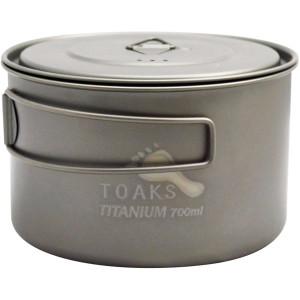 TOAKS Light Titanium 700ml Outdoor Camping Cook Pot POT-700-D115-L