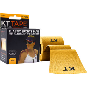 """KT Tape Cotton 10"""" Precut Kinesiology Therapeutic Sports Roll, 20 Strips, Gold"""