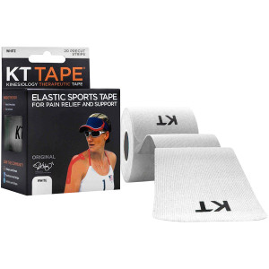"""KT Tape Cotton 10"""" Precut Kinesiology Therapeutic Sports Roll, 20 Strips, White"""